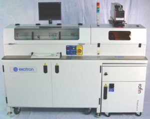 DLP JEDEC-tray laser marker | Tray stackers in left cabinet | Laser marking & inspection in right cabinet