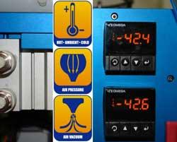 THERMALDISPLAY3 Cold test temperatures | Air pressure/vacuum testing