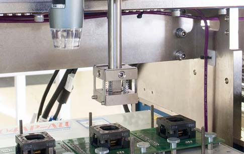 Camera-aided test/program socket alignment